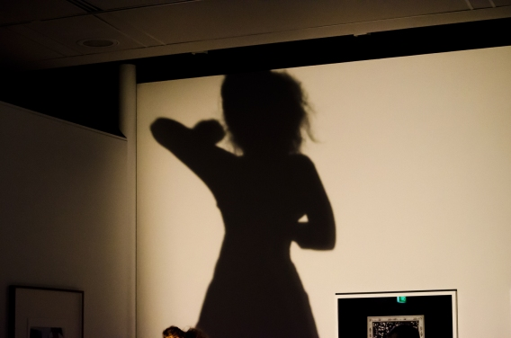 A large shadow of the woman with her arm raised a if she is working, making something