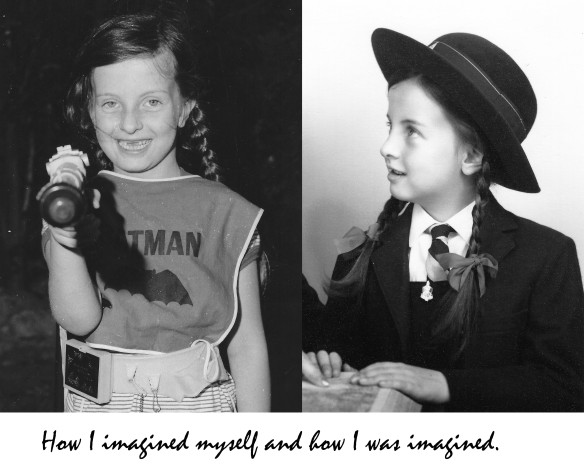 Two image of author around age 6, one dressed up as Batman in the backyard, with gap teeth, pointing the batman at the camera, one in full formal portrait with school uniform looking angelic